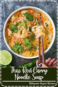 Thai Red Curry Noodle Soup - Yes, you can have Thai takeout right at home! - Thai Red Curry Noodle Soup - Yes, you can have Thai takeout right at home! Thai Red Curry Noodle Soup - Yes, you can have Thai takeout right . Vegetarian Recipes, Cooking Recipes, Healthy Recipes, Thai Curry Recipes, Vegetarian Noodle Soup, Veggie Noodle Soup, Noodle Bowls, Asian Chicken Noodle Soup, Thai Food Vegetarian