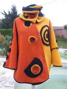Long Sleeve Cotton-Blend Outerwear(High-quality new version! Vintage Cotton, Mode Inspiration, Wool Felt, Felted Wool, Refashion, Casual Tops, Types Of Sleeves, Wearable Art, Mantel