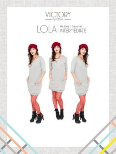 The Lola: Digital pdf sewing pattern from Victory patterns is a spin off of the classic crew neck sweater. This comfortable slip on dress features raglan sleeves, ribbed hem bands, front neckline V detail, and oversized wrap around pockets. Pdf Sewing Patterns, Dress Patterns, Sew Pattern, Pattern Ideas, Clothes Patterns, Sewing Clothes, Diy Clothes, Dress Sewing, Colette Patterns