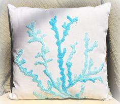 Sea Coral in Aqua Pillow by Gypseanurse on Etsy, $25.00