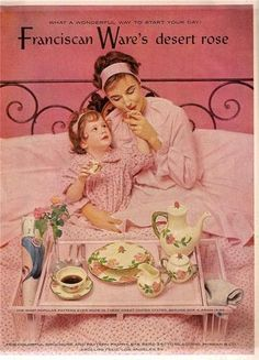 Vintage 1953 Color Magazine ad Franciscan Desert Rose Mother and Daughter