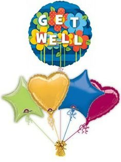 """Balloon delivery for Get Well balloons in a box are a great way to cheer some one up when they are not feeling to well. Send this """"Garden"""" Get Well balloon in a box to guarantee a big surprise!"""