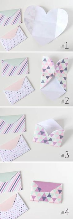 Make three cute envelopes using these free heart shaped printables. The post is in French, but the step by step photos make it easy to follow. Or use Google Translate for some help. Once you figure th