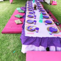 Party table at a Princess Jasmine birthday party! See more party ideas at CatchMyParty.com!