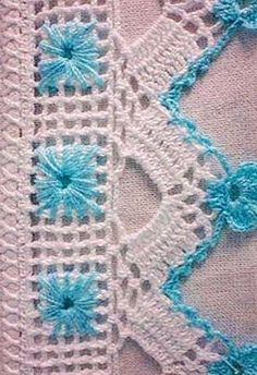 This Pin was discovered by bar Crochet Flower Tutorial, Form Crochet, Crochet Lace, Crochet Hooks, Filet Crochet Charts, Crochet Borders, Crochet Stitches, Crochet Dollies, Crotchet Patterns