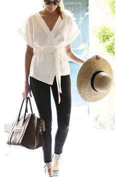 Wrap front top, black skinny jeans...perfect. Found on lolobu.com