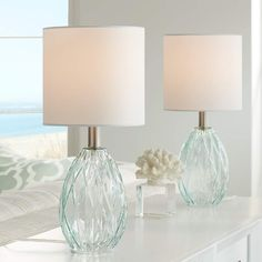 Rita Modern Accent Table Lamps 17 High Set of 2 Diamond Patterned Blue Green Glass Fabric Drum Shade for Bedroom Bedside Nightstand Office - 360 Lighting Blue Glass Lamp, Aqua Glass, Glass Lamp Base, Glass Lamps, Contemporary Bedroom Sets, Modern Bedroom, Nightstand Lamp, Bedside, Bedroom Lamps