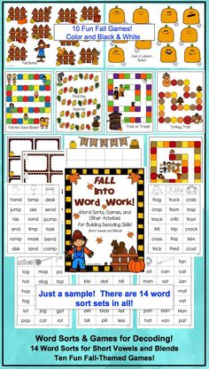 Phonics fun:  Word sorts and games for fall!  Use as a stand-alone or to supplement your adopted reading series.  Includes sorts for short vowels and blends (initial and final).  Games can be used with any word sort set!  $