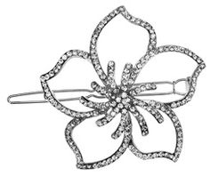 L. Erikson Crystal Hawaiian Flower on Tige Boule in Silver/Crystal #SAloves