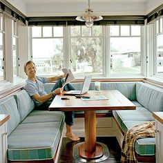 Genius Nautical Decorating Ideas It's a retro look, and we approve. The built-in breakfast nook is surrounded by striped banquette seating.It's a retro look, and we approve. The built-in breakfast nook is surrounded by striped banquette seating. Booth Seating In Kitchen, Kitchen Booths, Table Seating, Banquet Seating, Seating Areas, Kitchen Banquette, Dining Nook, Kitchen Nook, Happy Kitchen