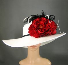 DST Centennial here I come! LOL  WHITE Kentucky Derby Hat  Derby Hat Wedding Hat Dress Hat Church Hat Wide Brim Hat with two Red Flowers Tea Party Ascot with Feathers. $84.00, via Etsy.
