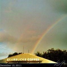 2つだった。? #double #rainbow #starbucks #philippines #sky #cloud #虹 #空 #雲
