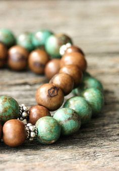 Turquoise Chocolate Seed Bracelet Acai Sterling Silver