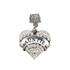 Auntie Pave Heart Memory Charm Pandora Compatible Charms