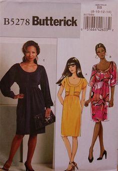 "Dress Raised Waistline - 2000's - Butterick Pattern 5278   Uncut   Sizes 8-10-12-14  Bust 31.5 to 36"""