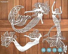 Mermaid SVG Bundle Printable PDF and SVG papercut template. 3 Papercut Templates, instant download. For personal and commercial use. Templates for hand and machine cutting. - You are purchasing commercial+personal USE of this design. - This design is for hand and machine cutting as it includes both SVG and PDF files. This item is a digital file, please note, no physical item will be send. - After purchasing a digital file, you'll see a View your files link which goes to the Downloads page…