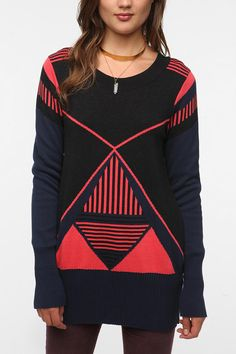 San & Soni Slina Bold Graphic Sweater | Urban Outfitters