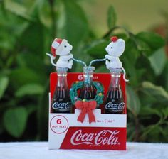 "COCA COLA Christmas Ornament ""THINGS GO BETTER WITH COKE"" Mice Drinking Coke MIB"