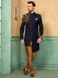 Shop Navy hued solid terry rayon fabric indo western online from India. Sherwani For Men Wedding, Wedding Dresses Men Indian, Sherwani Groom, Mens Sherwani, Wedding Dress Men, India Fashion Men, Indian Men Fashion, Mens Fashion Suits, Japan Fashion