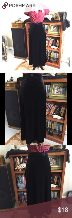 Velvet Rockabilly/Pinup High waisted Maxi Skirt S Velvet Black Rockabilly/Pinup High waisted Maxi Skirt S. Flattering Fit. Sz S. Stretches to show curves. Good condition Tapemeasure Skirts Maxi