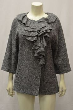 BAGATELLE Sz M Gray Marled Knit Jacket Ruffle Front Detail