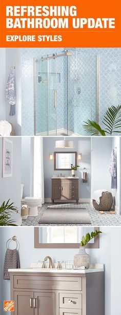 This light and airy bathroom will breathe fresh air into your daily routine. With simple modern lines and an understated gray, the Abbotsford vanity is a great complement to this refreshing space. Click to shop vanities, faucets and more to update your bathroom.