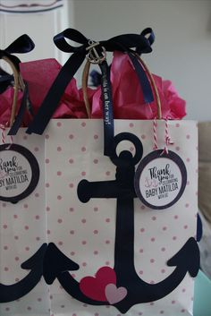 Nautical Girl Baby Shower Favor Bags  Bags, Anchor Charms,and Personalized  Ribbon From