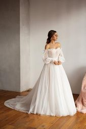 Mesh wedding dress, trained light reception dress, romantic