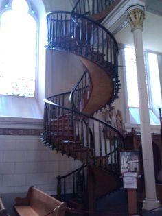 Spiral staircase at Loreto Chapel, Santa Fe, New Mexico. August 19, 2011.