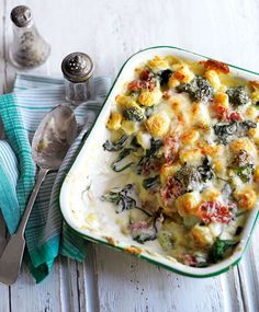 A shortcut supper recipe made with gnocchi, cheese sauce and parma ham.