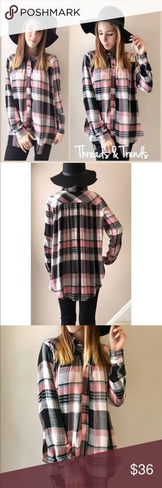 Pink Plaid Flannel Blouse Super soft oversized babydoll style pink & black Plaid flannel button down blouse. So soft and flows. Great quality. Size S/M, M/L, L/XL Tops Blouses