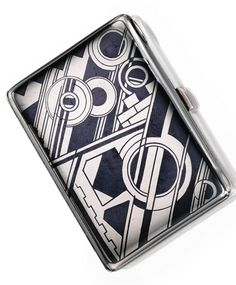 Silver, Silver-Gilt and Enamel Cigarette Case, Gérard Sandoz, France. The rectangular case decorated with machine-inspired geometric motifs applied with enamel, measuring approximately 3¼ by 2½ inches, signed Gérard Sandoz, with French assay and workshop marks; circa 1925. With signed and fitted box. #Sandoz #ArtDeco #CigaretteCase