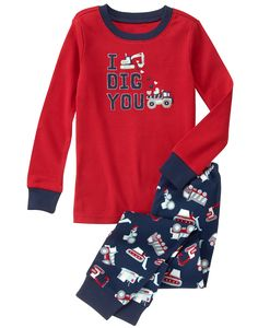 Boy True Red Dig You Pajamas by Gymboree. cotton rib, Snug-fitting, Features appliqués with embroidery, Easy pull-on style bottoms, Machine wash; Toddler Outfits, Kids Outfits, Boys Sleepwear, True Red, Pj Sets, Gymboree, Big Boys, Toddler Boys, Snug Fit