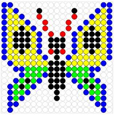 Vlinder Hama Beads, Perler Bead Art, Fuse Beads, Loom Beading, Beading Patterns, Melting Beads, Perler Patterns, Pony Beads, Plastic Canvas Patterns