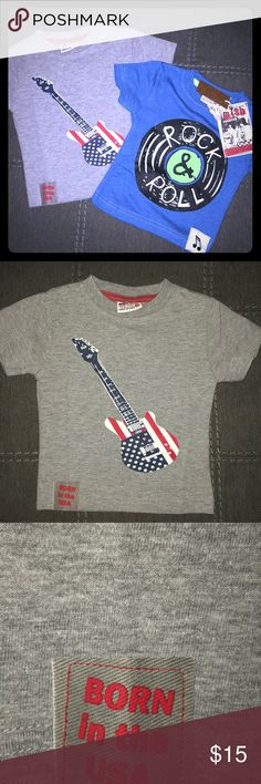 {MISH BOYS} 2 t-shirt baby boy bundle 9M These 2 adorable MISH BOYS t-shirts are NWT. The designer retail tag fell off the guitar t-shirt but the designer label with a plastic hang tag is still there. Mish Boys Shirts & Tops Tees - Short Sleeve