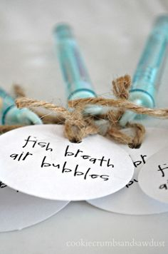 Bubbles party favors -customize your party favors for a fish-themed party. #bubbles #party #favors  Cookiecrumbs and Sawdust