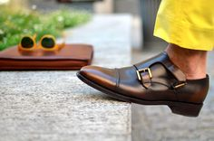 Men's Double Monk Strap Shoes Trends are discussed along with the history of the shoes style and what to wear them with. Me Too Shoes, Men's Shoes, Dress Shoes, Shoes Men, Leather Men, Leather Shoes, Leather Jackets, Derby, Double Monk Strap Shoes