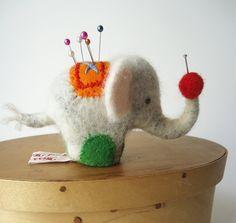 Original Needle Felted White Elephant  Pin Cushion. $38.00, via Etsy.