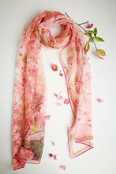 Cherry blossoms Pink silk Scarf Hand painted chiffon scarf