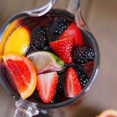 Blood Orange Blackberry Sangria Recipe Beverages with strawberries, blackberries, blood orange, lemon, lime, cinnamon sticks, sugar, triple sec, apple cider, red wine