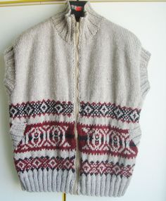 Hand Knitted Sweater Vest Mens Vest  Sweater XXL by earflaphats, $250.00