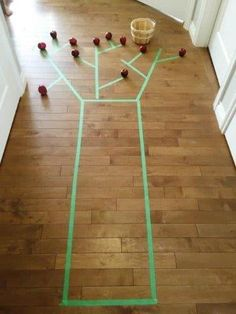 painters tape apple tree picking activity that's great for gross motor skills Apple Activities, Farm Activities, Motor Skills Activities, Art Activities For Kids, Gross Motor Skills, Autumn Activities, Infant Activities, Matter Activities, The Giving Tree