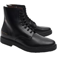 Common Projects Standard Combat Black // Lace-up leather boots ($560) ❤ liked on Polyvore featuring men's fashion, men's shoes, men's boots, mens black lace up boots, mens lace up boots, mens leather boots, mens black shoes and mens combat boots
