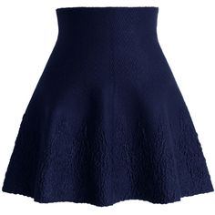 Chicwish Dance Around Emboss Skater Skirt in Navy ($38) ❤ liked on Polyvore featuring skirts, bottoms, saias, skater skirt, blue, blue skater skirt, blue skirt, navy circle skirt and flared skirt