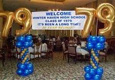 high school reunion decorations - go High School Class Reunion, 10 Year Reunion, High School Graduation, Class Reunion Ideas, Highschool Reunion Ideas, School Reunion Decorations, Reunion Centerpieces, Party Like Its 1999, Custom Balloons