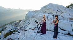 """Want a dose of pure beauty? Check out Anastasia Allison (scout, violin) and Rose Freeman (mountaineer, piano) performing summit """"Ashokan Farewell."""""""