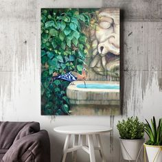 """Large canvas art, giclée print on canvas of original painting """"Big Mask Fountain"""", rustic large wall art for living room or bedroom Bird Paintings On Canvas, Large Canvas Prints, Animal Paintings, Original Paintings, Oil Paintings, Original Artwork, Art Prints, Realistic Oil Painting, Oil Painting For Sale"""