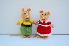 Knitted Mice Dolls - Knitting Pattern - PDF E-mail £3.60