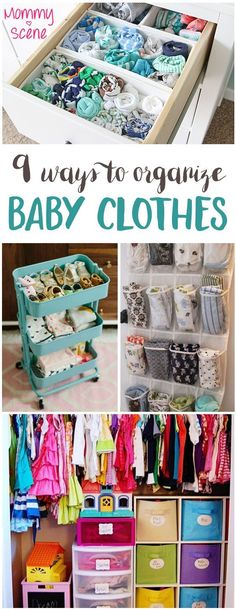 Many of these DIY baby clothes storage ideas are easy to make from recycled items! Organize clothing drawers, sort toys into bins, clean up closets and more.
