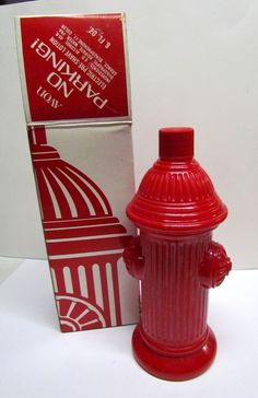 Vintage AVON, Fire Hydrant, No Parking, Bottle / Decanter, with box, Bottle is Empty by VINTAGEandMOREshop on Etsy https://www.etsy.com/listing/223314964/vintage-avon-fire-hydrant-no-parking